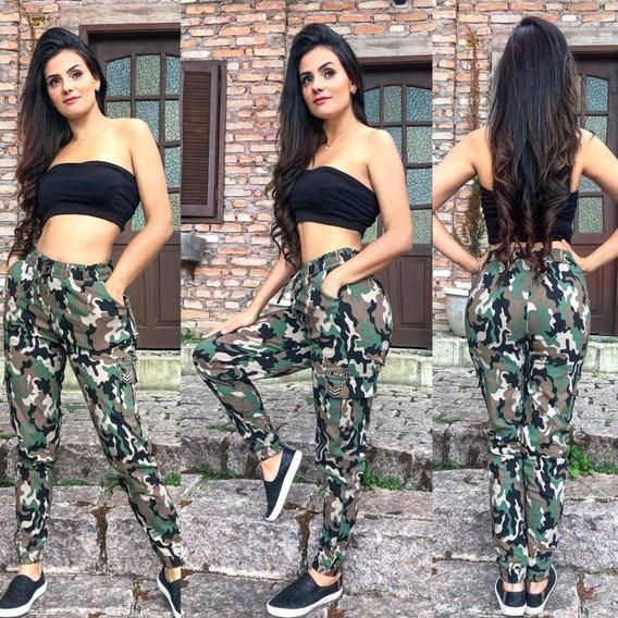 Calça Feminina Jogger Bengaline Cargo Militar Army Bomber