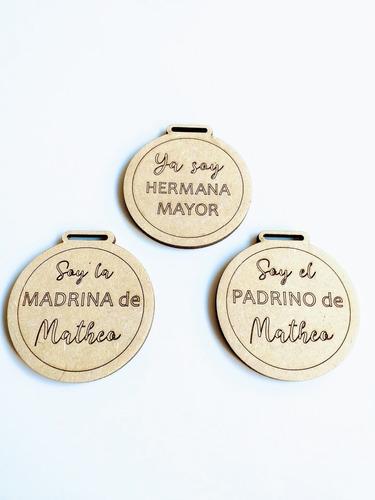 Imagen 1 de 6 de Medallas Souvenir Baby Shower Nacimiento - Mdf - Fibrofacil