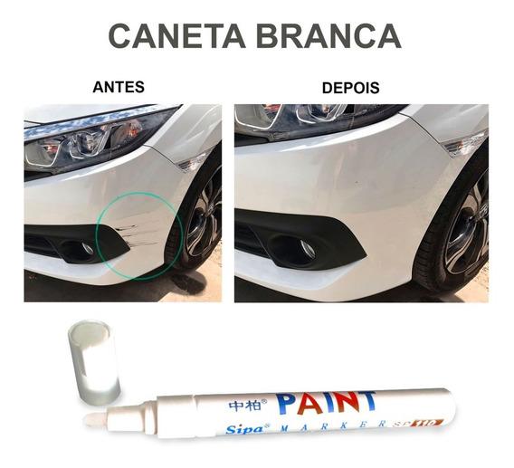 Caneta Retoque Tira Riscos Veículos Tinta Automotiva Branca