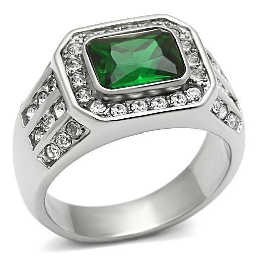 Anel Formatura Verde Esmeralda Aço Inoxidável Polido Luxo