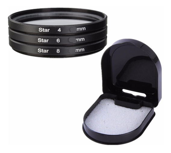 Kit 3x Filtro Star 4 6 8 Pontas 67mm 72mm 77mm 82mm