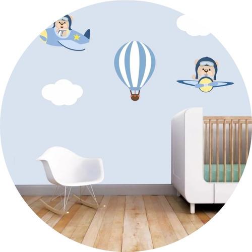 Adesivos Parede Infantil Urso Aviador Balões Balão Nuvens