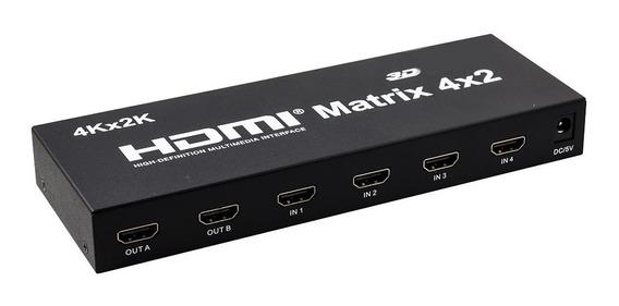 Matrix Hdmi 2x4 Com Controle Remoto 4k