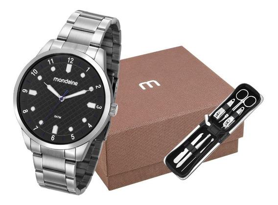 Kit Relógio Masculino Mondaine Prata 53599g0mvne1k2 Preto