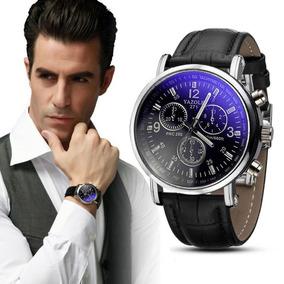 Relógio Dos Homens Elegantes Pulso Social Pulseira Couro