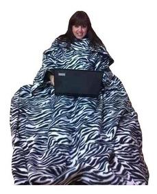 Cobertor Com Mangas E Bolso - Kit 02 Adultos E 01 Inf Capuz
