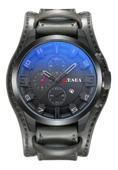 Relógio Bracelete Pulseira Larga Em Couro Masculina Feminina