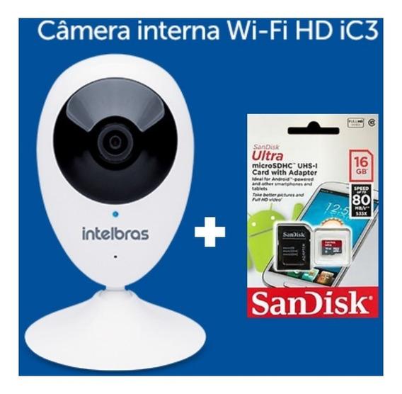 Camera Intelbras Ic3 Interna Aplicativo Mibo + Cartão 16gb