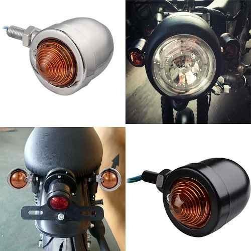 Piscas Setas Retrô Bullet Cromado Para Harley Motos Custom