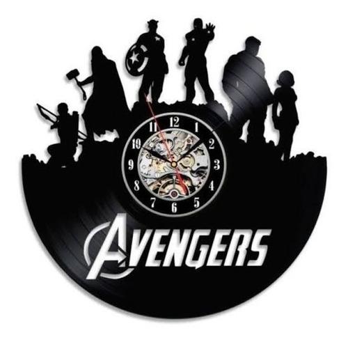 Imagem 1 de 1 de Relógio De Parede, Disco Vinil, Vingadores, Marvel, Avengers