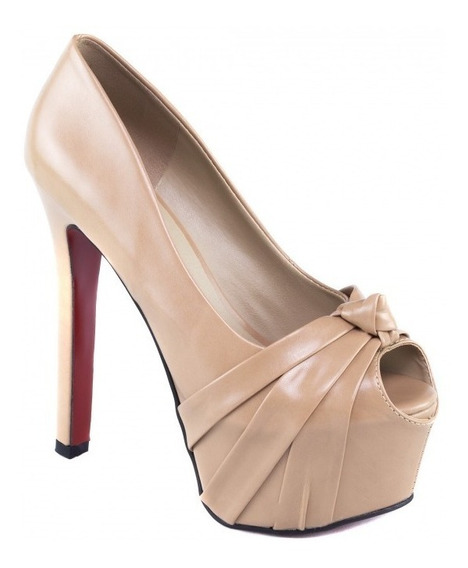 Sapato Alto Fino Gucci Torricella Noiva Solado Vermelho Nude