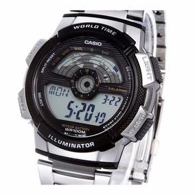 Relogio Casio Ae-1100wd Aço Hora Mund Timer 5 Alarmes Ae1000