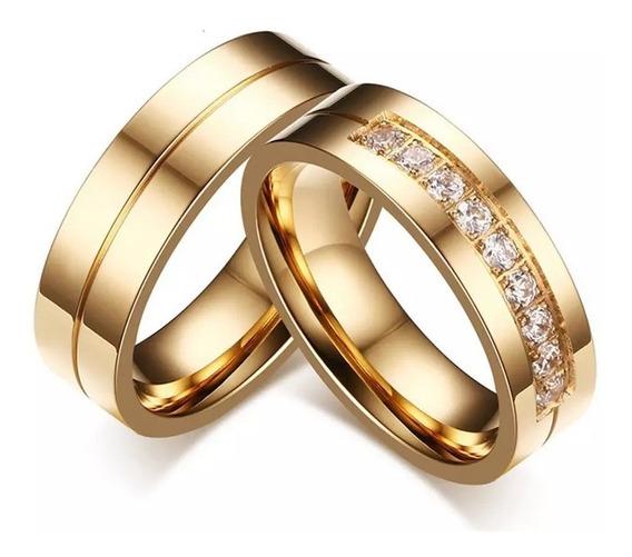 Anillos Argolla Pareja Matrimonio Ilusión Compromiso Doradas