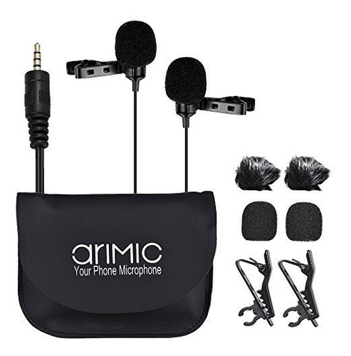 Imagen 1 de 8 de Microfono Corbatero Doble Arimic 6m Celular + Cámara +comput