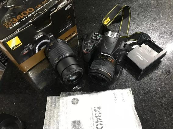 Nikon D3400 + Kit De Lentes Af-p 18-55mm + Af-s 55-200mm