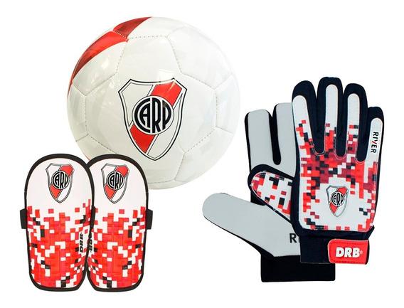 Kit Futbol River: Pelota N 3 Drb® + Guantes + Canilleras