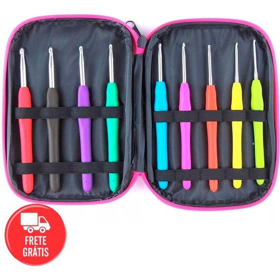 Estojo 09 Agulhas Soft Emborrachada Coloridas Crochê + Case