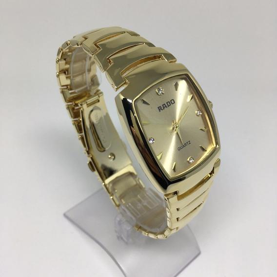 Relógio Feminino Dourado Quadrado Luxo