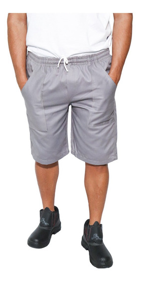 06 Bermuda Em Brim Da Cor Cinza ,uniforme Trabalho