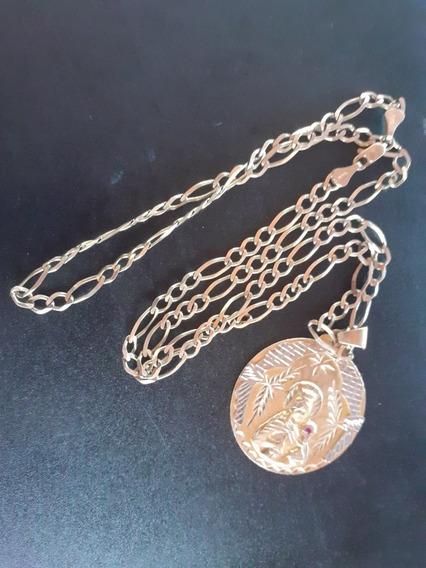 Cadena Y Medalla De Oro Solido 10 Kilates Centenario