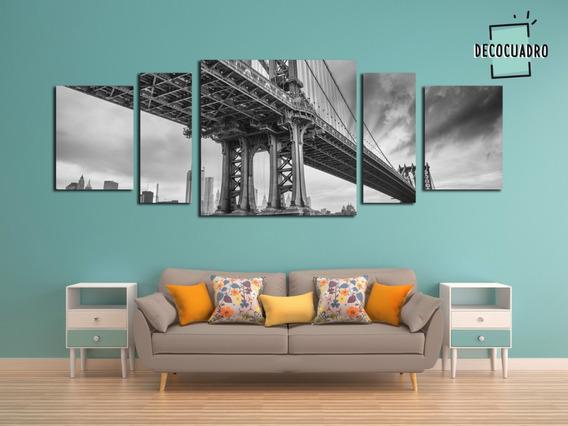 Puente Brooklyn 160x60 Tela Canvas Moderno Ny Poliptico