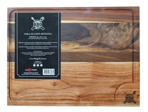 Imagen 1 de 4 de Tabla De Picar De Madera Bbq Grill Chef Asado 40x30