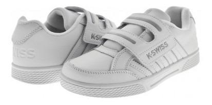 Tenis Escolar K-swiss 5f333 101 White Kid Court New 17-22 N