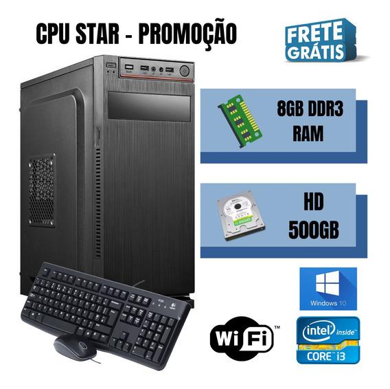 Cpu Intel Core I3 8gb Ram Hd 500gb Win10 Brindes - Frete !!