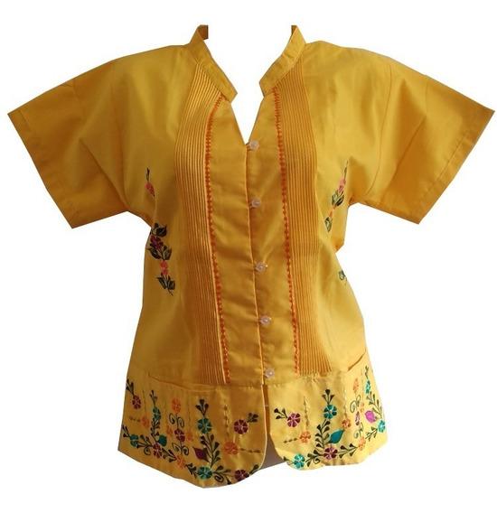 Blusa Guayabera Dama Arroz Amarillo Bordada 100% Yucateca