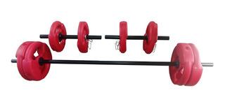 Kit Set 30kg Tipo Body Discos C/ Agarre Pesas Barra Mancuernas