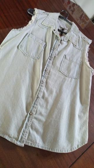 Camisa De Jean Con Detalle Desflecado T Medium