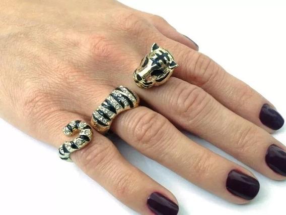 Anel Triplo Tigre (dourado E Prateado)