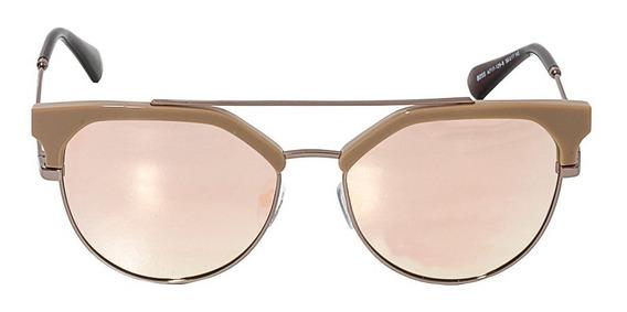 Óculos De Sol Feminino Arredondado Rosê Marrom Frete Grátis