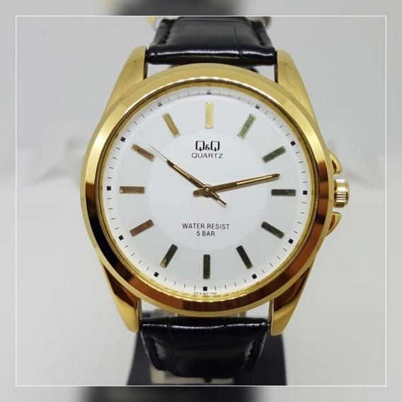 Relógio Masculino Dourado Fundo Branco Couro Clássico Q&q