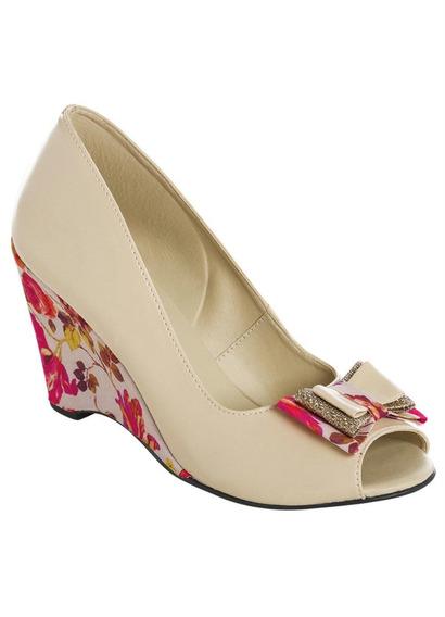 Peep Toe Marfim Com Salto Estampado Frete Grátis