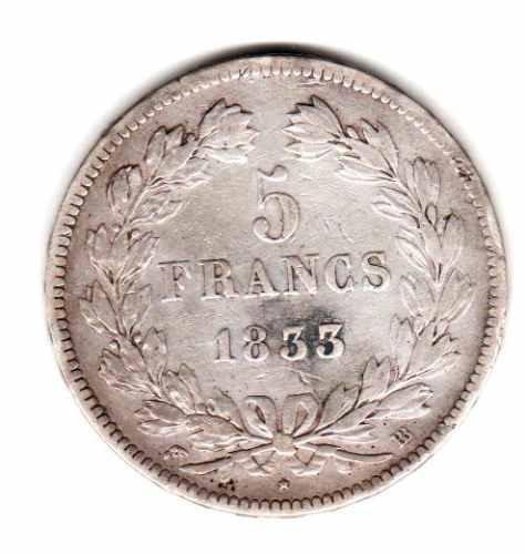 Moneda Francia Plata Año 1833 Bb Rey Luis Felipe I Muy Buena