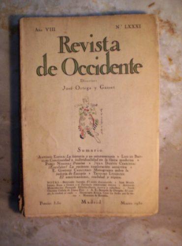 Revista De Occidente Año 7 Nro. 81 Marzo De 1930