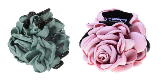 Moda Rosa Flor Garras De Pelo Para Mujeres Niñas, Paquete