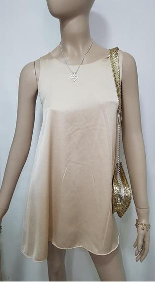 Vestido Saten Suelto Espalda Con Lazo Mujer