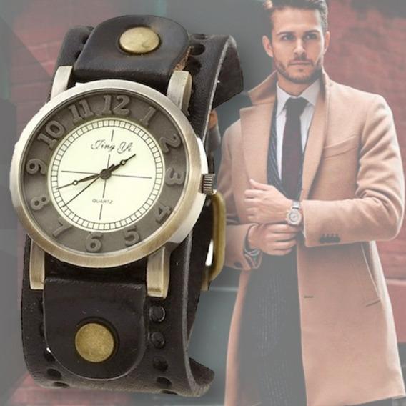 Relógio Masculino De Couro Vintage Retrô Modelo Antigo