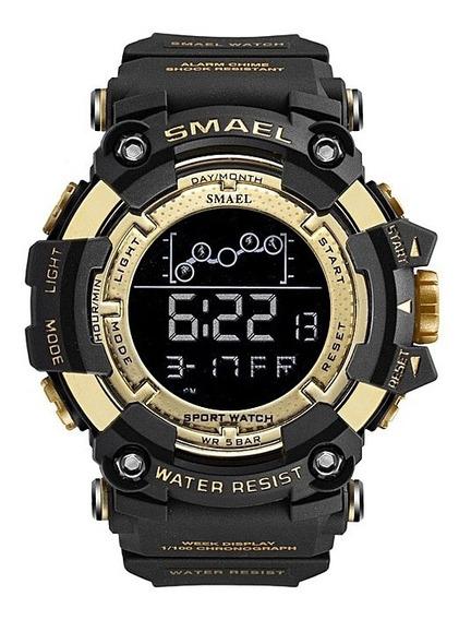 Relógio Smael 1802 Na Caixa Tático Dourado Prova D