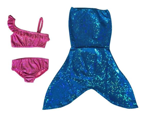 Cola De Sirena Y Bikini Para Niñas Pequeñas Varios Colores