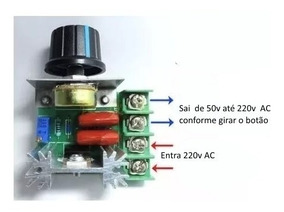 Regulador De Tensão Velocidade Temperatura 220v 2000w