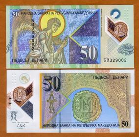 Macedônia 50 Denari 2018 P. New Fe Cédula Polímero Tchequito