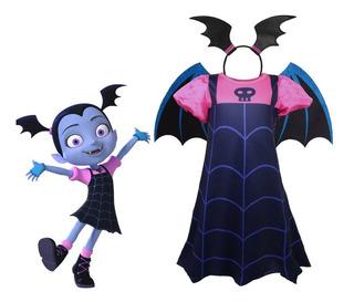 Fantasia Festa Infantil Vampirina Halloween Com Asas E Arco