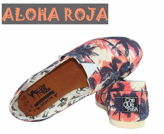 Aloha Roja - Alpargatas De Diseño Chequepasa