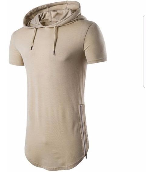 Camiseta Longa Capuz E Zíper Stecchi