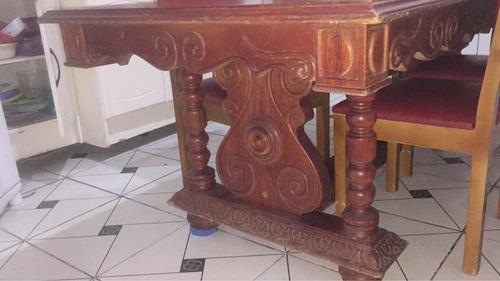 Mesa Com 06 Cadeiras Relíquia  100% Madeira