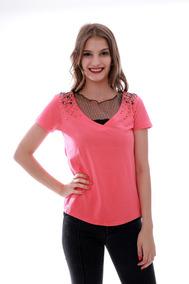Blusa T-shirt Feminino Gola Com Tule Importado