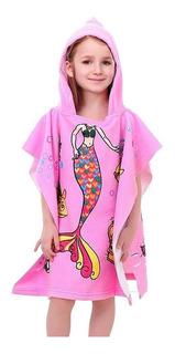 Poncho Toalha Infantil Modelo Sereia Rosa Com Capuz